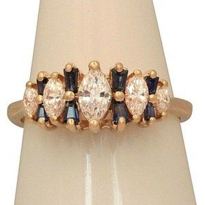 Jewelry - Women's 14K Marquise Diamonds and Sapphires Ring